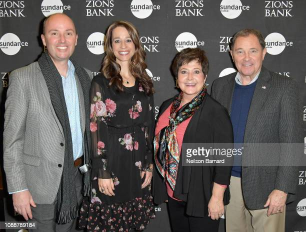 Lieutenant Governor of Utah Spencer Cox Abby Cox Jeanette Herbert and Governor of Utah Gary Herbert attend Salt Lake Opening Night Screening Of The...