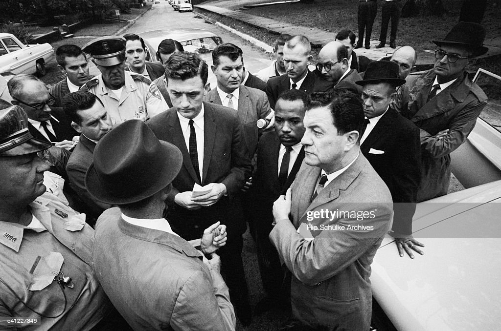 Lieutenant Governor Paul Johnson blocks James Meredith from walking on to the University of Mississippi campus, hence integrating the school. Meredith, the first black student admitted, was accompanied by U.S. Attorney John Doar and U.S. Marshal James J.P. McShane.