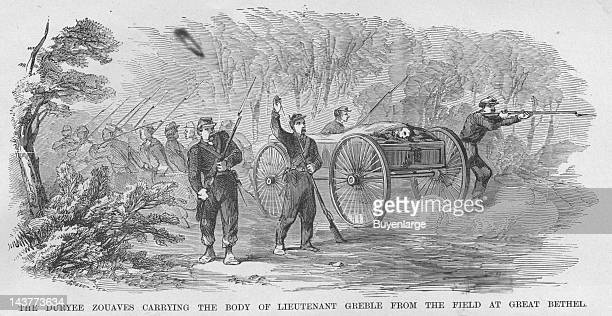 Lieutenant Greble Carried dead form the Field at Great Bethel Virginia Duryee Zouaves cart the body from the field Great Bethel Virginia June 10 1861...