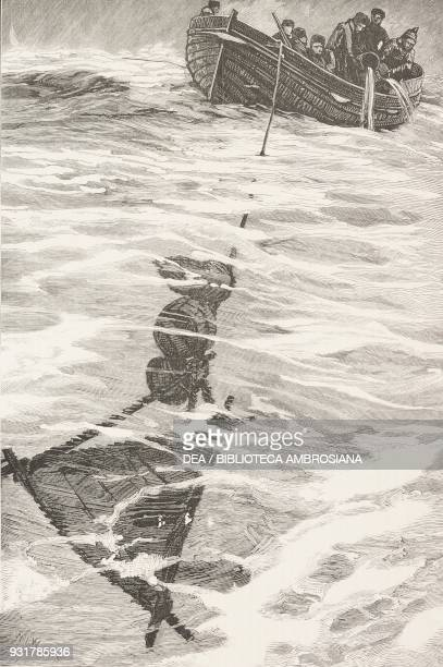 Lieutenant John Wilson Danenhower's boat riding out the gale with an improvised sea anchor September 12 the sinking of the ship Jeannette...