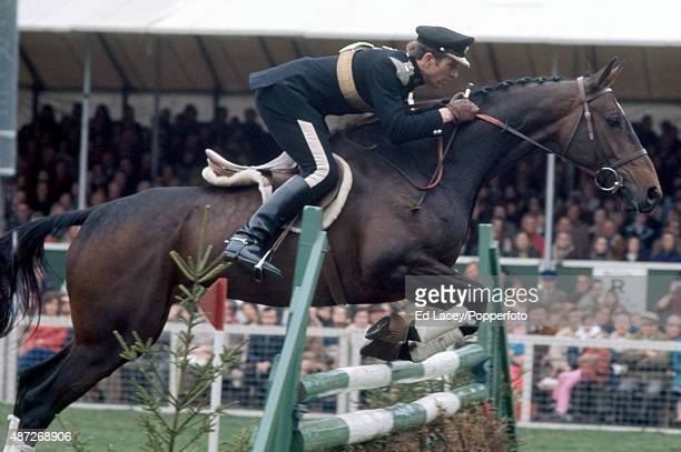 Lieutenant Mark Phillips of Great Britain and his mount Great Ovation in action during the Badminton Horse Trials in Gloucestershire on 16th April...