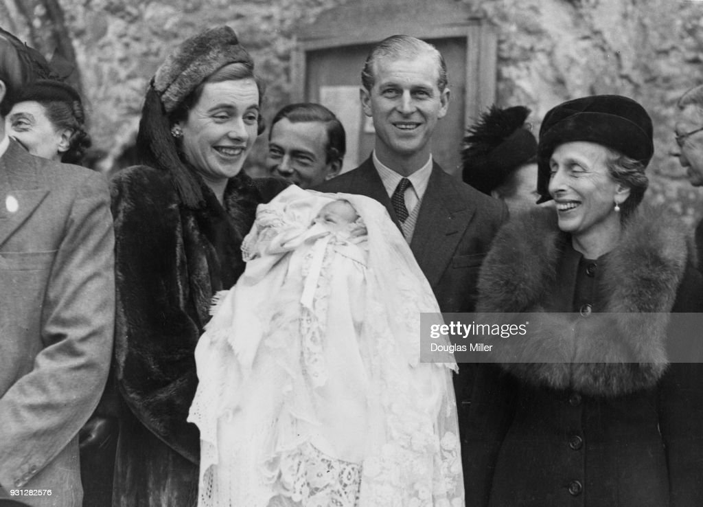 Lieutenant Mountbatten, the fiancé of Princess Elizabeth, attends the christening of Norton Knatchbull, son of the 7th Baron Brabourne and Patricia Knatchbull (pictured) at Mersham village in Kent, 18th November 1947. Lieutenant Mountbatten is the baby's godfather and cousin to Patricia.