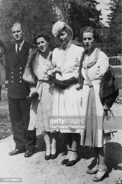 Lieutenant Philip Mountbatten posed with his sisters from left Princess Margarita of Greece and Denmark Princess Sophie of Greece and Denmark and...
