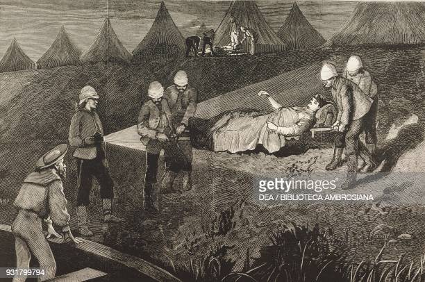 Lieutenant Purvis commander of the ironclad train being taken to hospital after the battle of Kassassin September 9 the war in Egypt illustration...
