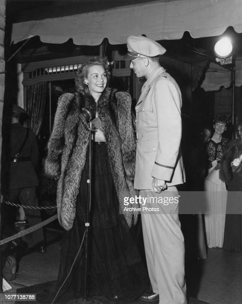 Lieutenant Ronald Reagan of the US Army and his wife, actress Jane Wyman, attend a screening at Grauman's Chinese Theatre in Hollywood, California,...