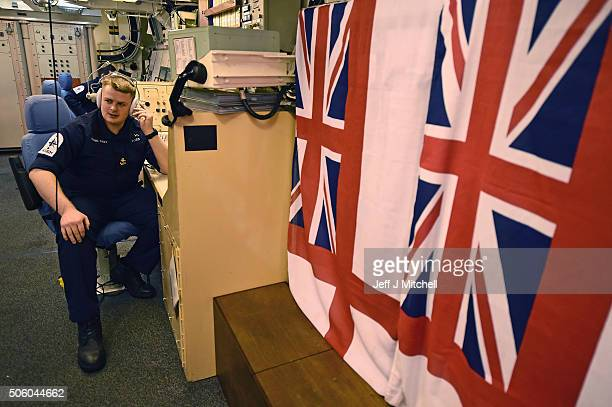 Lieutenant Ross in the missile control centre on HMS Vigilant submarine on January 20 2016 in Rhu Scotland HMS Vigilant is one of the UK's fleet of...