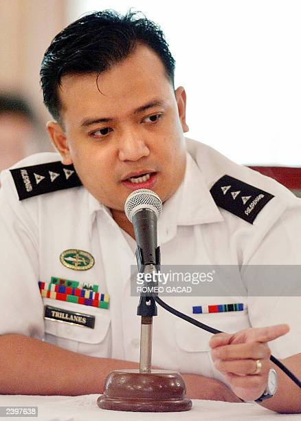 Lieutenant Senior Grade Antonio Trillanes one of the detained leaders of the mililtary rebellion testifies before the factfinding commission...