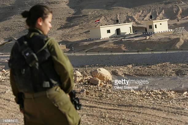 Lieutenant Sivan Ben Ezra, a 22-year-old deputy company commander in the Israeli army's Caracal battalion, looks over the border at an Egyptian army...