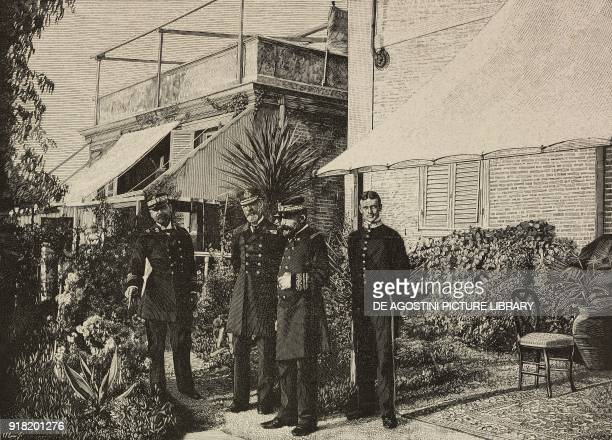 Lieutenant Tozzoni English Admiral Michael CulmeSeymour and the Duke of Genoa hosted by the English Consul La Spezia Italy engraving after a photo by...