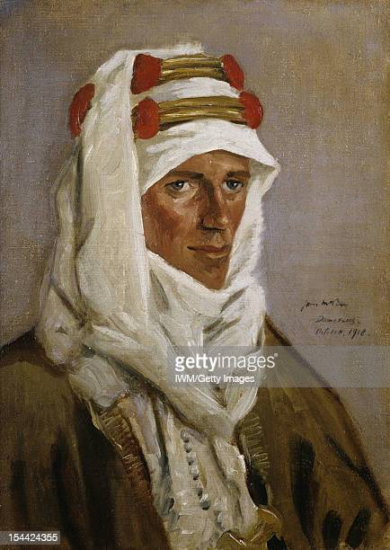 Lieutenant-Colonel T E Lawrence, CB, DSO A head and shoulders portrait of Lawrence in Arab headdress, October 1918.