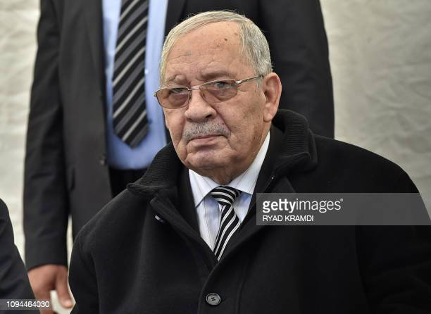 LieutenantGeneral Ahmed Gaid Salah chief of Staff of the Algerian Armed Forces and Viceminister of Defence attends the funeral of Algerian...