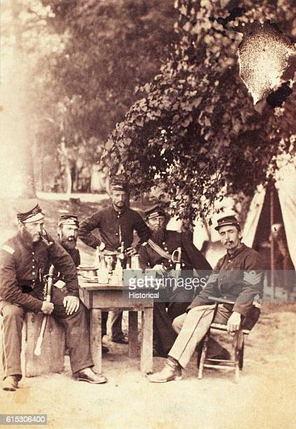 Lieutenants HA Keith and GW Bigelow dine with Captain HC Lombard and Sergeant HG Gilmore at Camp Brightwood DC ca 1861 The men served in Company F...