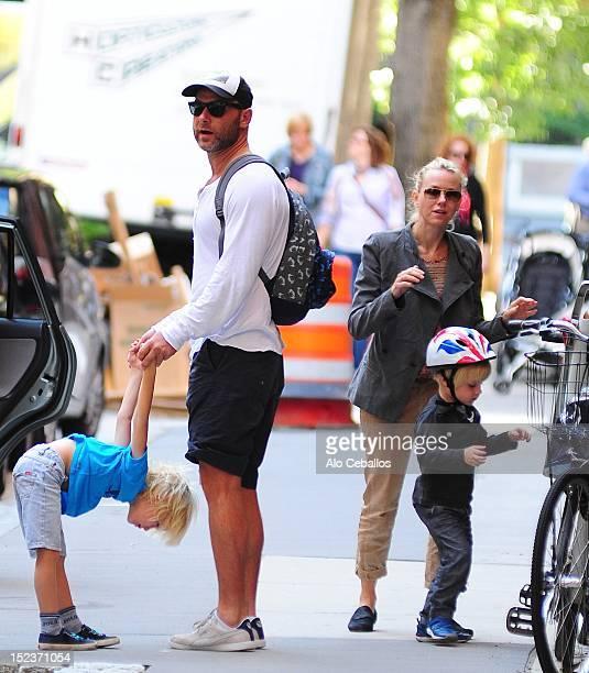 Liev Schreiber Alexander Pete Schreiber Naomi Watts and Samuel Kai Schreiber are seen in Tribeca on September 19 2012 in New York City