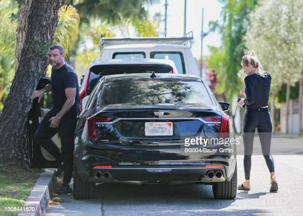 Liev Schreiber and girlfriend Taylor Neisen are seen on March 27 2020 in Los Angeles California