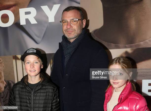Liev Schreiber and kids pose at the opening night of the revival of Ivo van Hove's West Side Storyon Broadway at The Broadway Theatre on February 20...