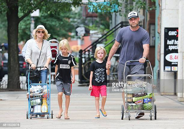 Liev Schreiber and Naomi Watts seen pushing their grocery carts with sons Alexander and Samual on July 21 2015 in New York City