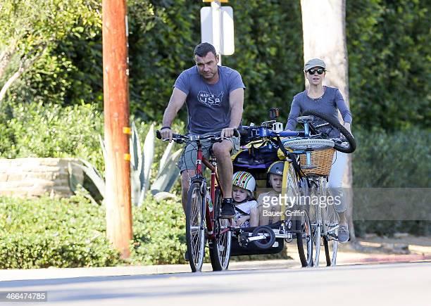 Liev Schreiber and Naomi Watts with Samuel Schreiber and Alexander Schreiber are seen on February 01 2014 in Los Angeles California