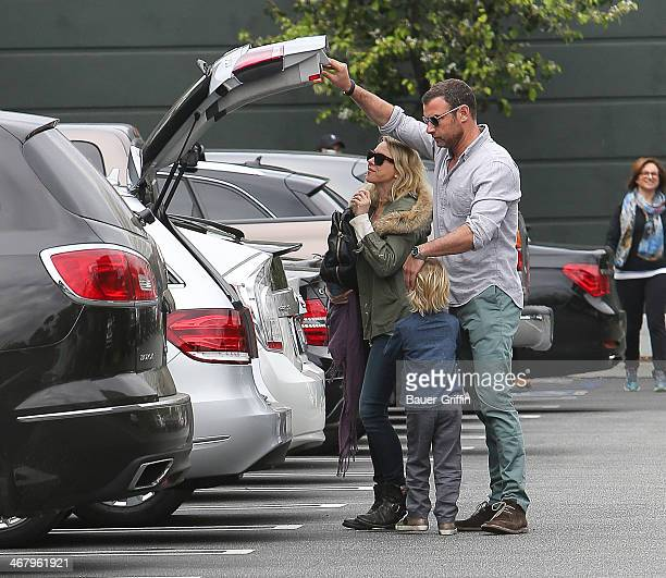 Liev Schreiber and Naomi Watts with Samuel Schreiber are seen on February 08, 2014 in Los Angeles, California.