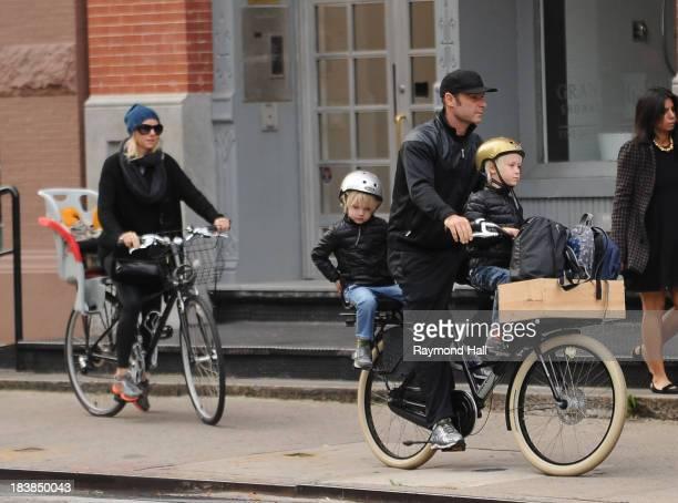 Liev Schreiber and Naomi Watts with Sasha Schreiber and Kai Schreiber are seen in the West Village on October 9 2013 in New York City