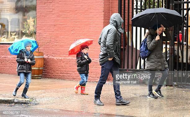 Liev Schreiber and Naomi Watts with Sasha Schreiber and Kai Schreiber are seen in the West Village on November 27 2013 in New York City