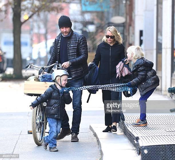 Liev Schreiber and Naomi Watts with Sasha Schreiber and Kai Schreiber are seen in the West Village on December 3 2013 in New York City