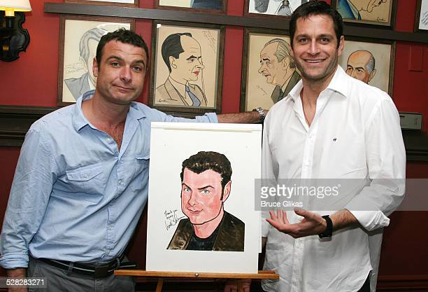 Liev Schreiber and Peter Hermann during Liev Schreiber Caricature Unveiled at Sardi's Wall of Fame June 26 2007 at Sardis in New York City New York...