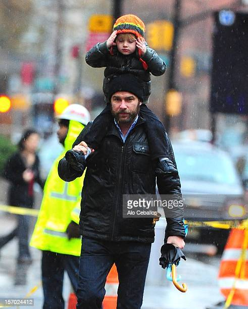 Liev Schreiber and Samuel Kai Schreiber are seen in Tribeca on November 27, 2012 in New York City.