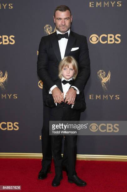 Liev Schreiber and son attend the 69th Annual Primetime Emmy Awards at Microsoft Theater on September 17 2017 in Los Angeles California
