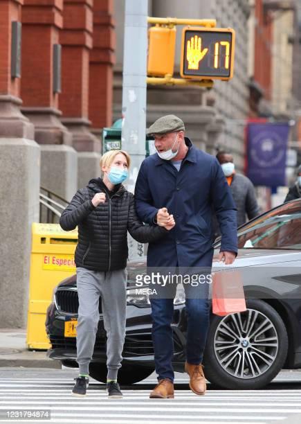 Liev Schreiber and son Sasha Schreiber are seen on March 18, 2021 in New York City.