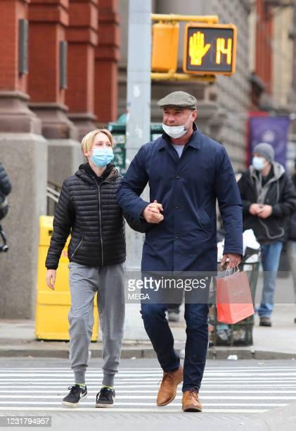 Liev Schreiber and son Sasha Schreiber are seen on March 18, 2021 in New York City, New York.