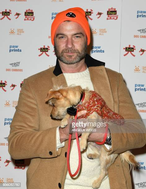 Liev Schreiber attends the paw sprints special screening of 'Isle of Dogs' at IFC CENTER on March 21 2018 in New York City / AFP PHOTO / ANGELA WEISS