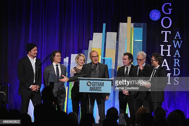 Liev Schreiber, Billy Crudup, Rachel McAdams, Michael Keaton, Brian d'Arcy James, John Slattery and Mark Ruffalo speak onstage at the 25th IFP Gotham...