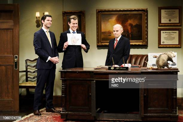 LIVE 'Liev Schreiber' Episode 1751 Pictured Mikey Day as Donald Trump Jr Alex Moffat as Eric Trump and Kate McKinnon as Jeff Sessions during the...
