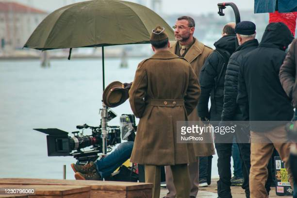 Liev Schreiber getting ready for the shooting of the film Across the River and into the Trees, by director Paola Ortiz and starring actors such as...