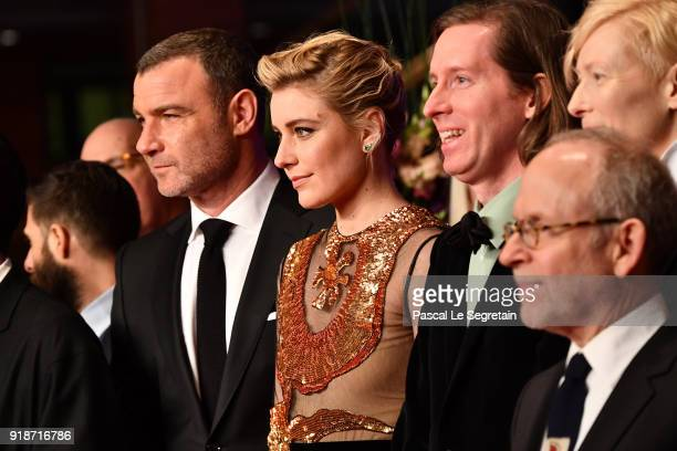 Liev Schreiber Greta Gerwig Wes Anderson Bob Balaban and Tilda Swinton are seen at the Opening Ceremony 'Isle of Dogs' premiere during the 68th...