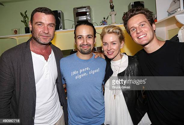 "Liev Schreiber, Lin-Manuel Miranda, Naomi Watts and Jonathan Groff pose backstage at the hit musical ""Hamilton"" on Broadway at The Richard Rogers..."