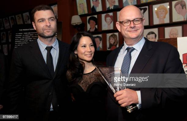 Liev Schreiber, Lucy Lui and Stuart Thompson attend the CTI Robert Whitehead Award reception at Sardi's on March 9, 2010 in New York City.