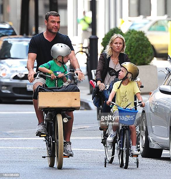 Liev Schreiber Naomi Watts Alexander Pete Schreiber and Samuel Kai Schreiber are seen in Soho on September 13 2013 in New York City