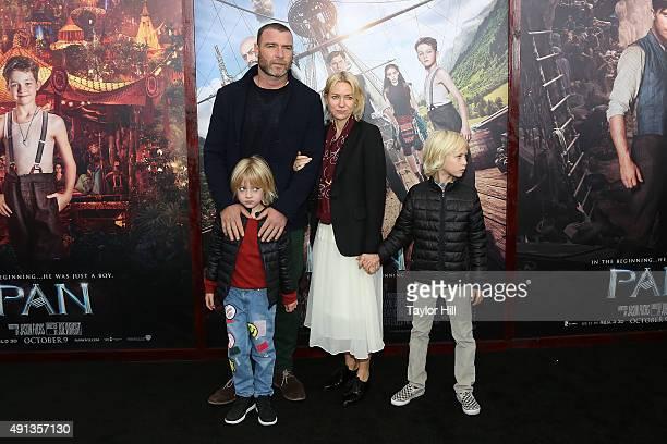 """Liev Schreiber, Naomi Watts, Samuel Schreiber, and Alexander Schreiber attend the """"Pan"""" premiere at Ziegfeld Theater on October 4, 2015 in New York..."""