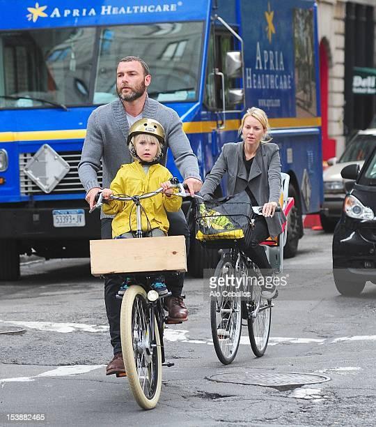 Liev Schreiber Naomi Watts Sasha Schreiber and Kai Schreiber are seen in Tribeca on October 10 2012 in New York City