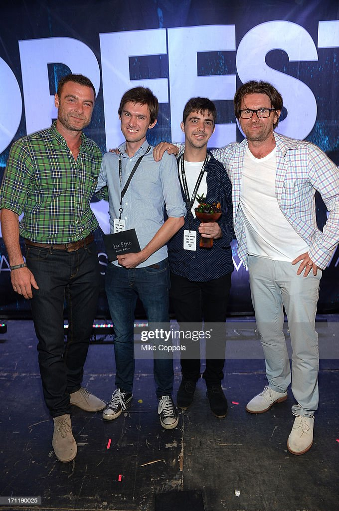 Liev Schreiber, Nick Baker, Tristan Klein and John Polson attend Tropfest New York 2013, the world's largest short film festival, at Prospect Park on June 22 in Brooklyn.
