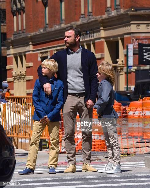 Liev Schreiber seen out and about and about in Manhattan on April 21 2018 in New York City