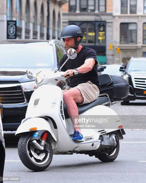 Liev Schreiber seen out riding a scooter on the streets of Manhattan on May 5 2018 in New York City