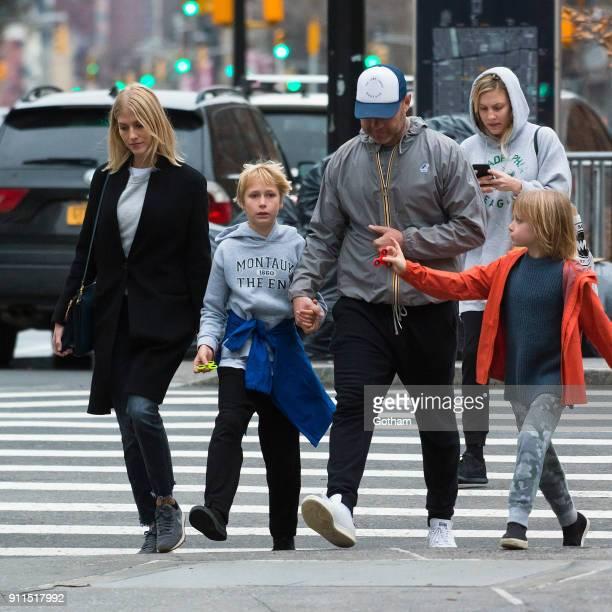 Liev Schreiber seen walking his children Samuel Schreiber and Alexander Schreiber with Taylor Neisen in East Village on January 28 2018 in New York...