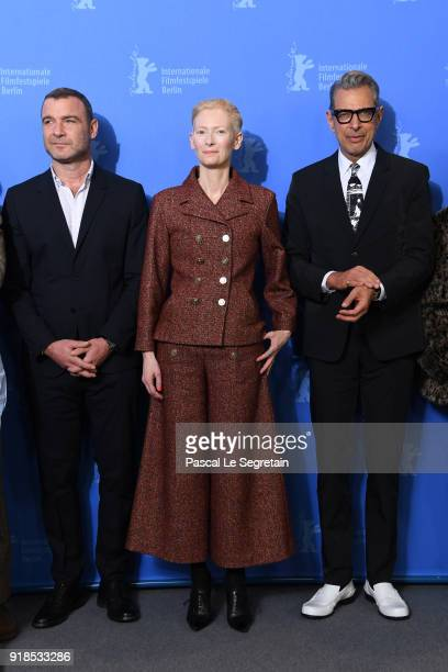 Liev Schreiber Tilda Swinton and Jeff Goldblum pose at the 'Isle of Dogs' photo call during the 68th Berlinale International Film Festival Berlin at...