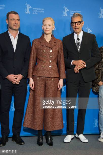 Liev Schreiber Tilda Swinton and Jeff Goldblum poses at the 'Isle of Dogs' photo call during the 68th Berlinale International Film Festival Berlin at...