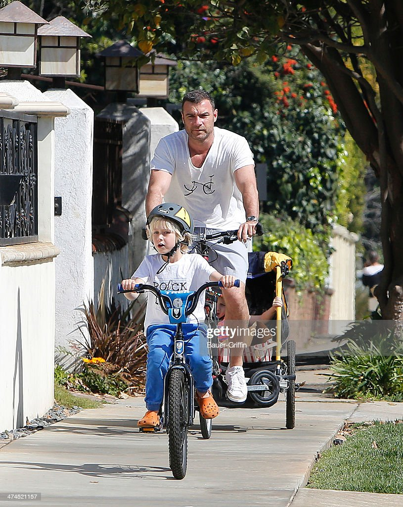 Liev Schreiber with Alexander Schreiber and Samuel Schreiber are seen on February 23, 2014 in Los Angeles, California.