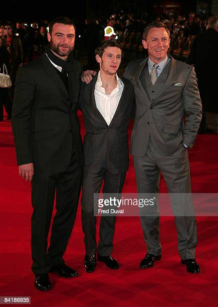 Liev Schreiber with Jamie Bell and Daniel Craig attends the European Premiere of Defiance at the Odeon Leicester Square on January 6, 2009 in London,...