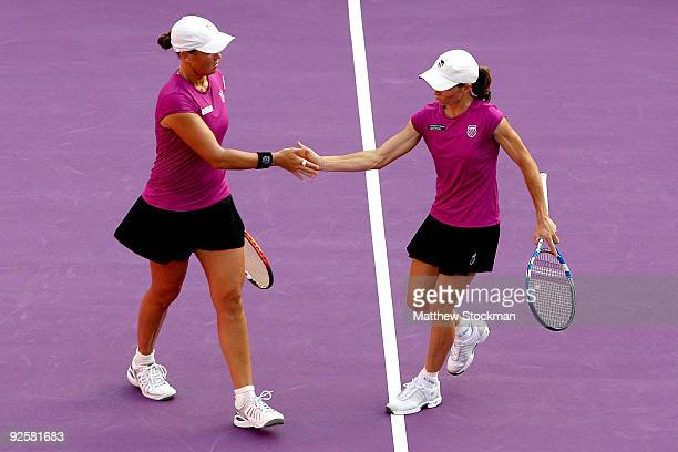 Liezel Huber of the United States and Cara Black of Zimbabwe celebrate a point against Samantha Stosur and Rennae Stubbs during the semifinals of the...