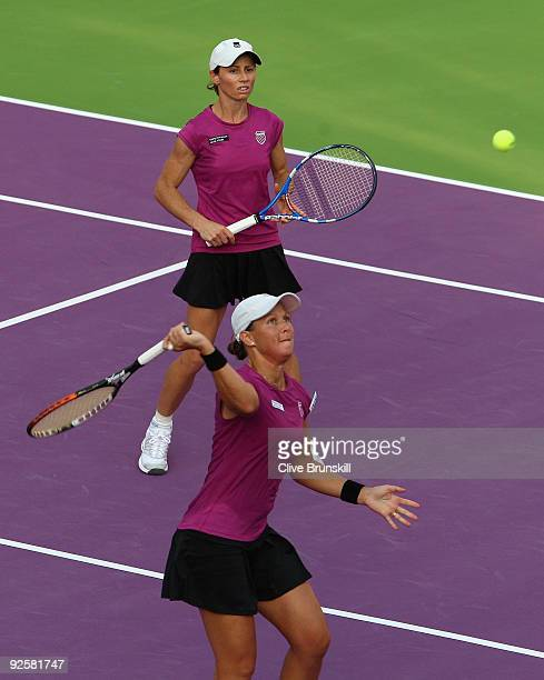 Liezel Huber of the USA and Cara Black of Zimbabwe in action in the semi-final against Samantha Stosur and Rennae Stubbs of Australia during the Sony...
